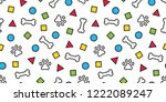 dog paw seamless pattern vector ... | Shutterstock .eps vector #1222089247