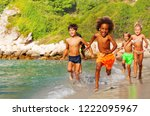 happy multiethnic kids running... | Shutterstock . vector #1222095967