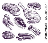 hand drawn meat. steak  beef... | Shutterstock .eps vector #1222098214