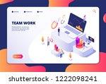 team work concept. people work... | Shutterstock .eps vector #1222098241