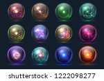 magical crystal orbs. glowing... | Shutterstock .eps vector #1222098277