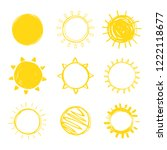 sun hand drawn icon set... | Shutterstock .eps vector #1222118677