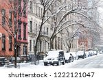 winter scene with snow covered... | Shutterstock . vector #1222121047