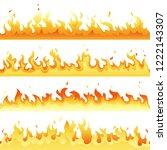 seamless hot fire flame set ... | Shutterstock . vector #1222143307