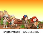 Group of children camping in desert illustration