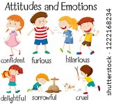 set of children attitudes and... | Shutterstock .eps vector #1222168234