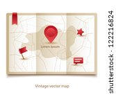 vector vintage map icon with... | Shutterstock .eps vector #122216824