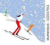 People Skiing  Winter Mountain...