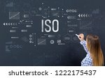 iso with young woman writing on ...   Shutterstock . vector #1222175437