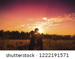 couple kissing and holding... | Shutterstock . vector #1222191571