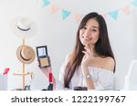 beautiful asian woman blogger... | Shutterstock . vector #1222199767