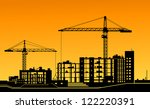working cranes on building for... | Shutterstock .eps vector #122220391