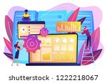laptop with data visualization... | Shutterstock .eps vector #1222218067