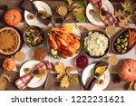 thanksgiving turkey dinner with ... | Shutterstock . vector #1222231621