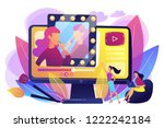 female user watches beauty... | Shutterstock .eps vector #1222242184