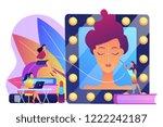 students listening to teacher...   Shutterstock .eps vector #1222242187