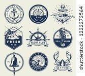 vintage monochrome nautical... | Shutterstock .eps vector #1222273564