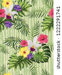 decorative colorful stripe palm ... | Shutterstock .eps vector #1222291741