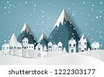 winter with homes and snowy... | Shutterstock .eps vector #1222303177