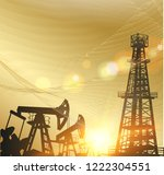 oil pumps and derricks over the ... | Shutterstock .eps vector #1222304551