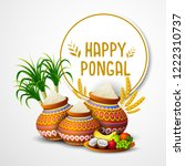 happy pongal holiday festival... | Shutterstock .eps vector #1222310737