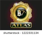 golden emblem with bitcoin...   Shutterstock .eps vector #1222331134