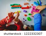 kids play with clay molding... | Shutterstock . vector #1222332307