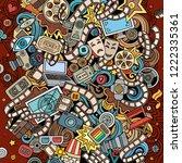 cartoon vector doodles cinema... | Shutterstock .eps vector #1222335361