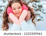 winter portrait of happy kid... | Shutterstock . vector #1222339561