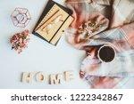 cozy winter or autumn still... | Shutterstock . vector #1222342867