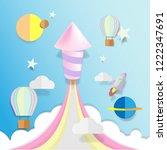 rocket fire work paper art... | Shutterstock .eps vector #1222347691