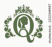 vintage queen silhouette.... | Shutterstock .eps vector #1222348987