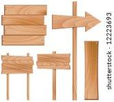 set of wooden sign vector   Shutterstock .eps vector #12223693