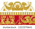 antique period baroque gold red ... | Shutterstock . vector #1222370641