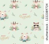 seamless watercolor merry... | Shutterstock . vector #1222389724