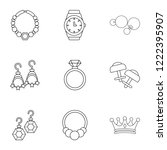 princely jewellery icons set....   Shutterstock .eps vector #1222395907
