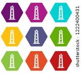 beacon icons 9 set coloful... | Shutterstock .eps vector #1222400431
