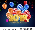 happy new year 2019  colorful... | Shutterstock .eps vector #1222404157
