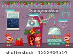 santa workshop with funny elves ... | Shutterstock .eps vector #1222404514
