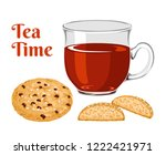 black tea in glass cup and... | Shutterstock .eps vector #1222421971