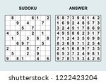 vector sudoku with answer 225....   Shutterstock .eps vector #1222423204