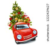 vector red car with christmas... | Shutterstock .eps vector #1222429627