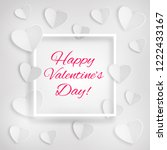greeting card with white hearts ... | Shutterstock .eps vector #1222433167