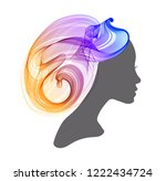woman's profile with long ... | Shutterstock .eps vector #1222434724