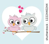 greeting card two loving owls ... | Shutterstock .eps vector #1222440244
