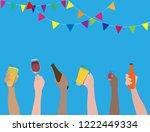 vector people clinking beer...   Shutterstock .eps vector #1222449334