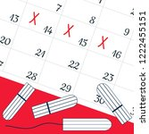 a calendar with the menstrual... | Shutterstock .eps vector #1222455151
