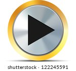 Metal play button - stock photo