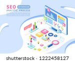 seo vector isometric background ... | Shutterstock .eps vector #1222458127