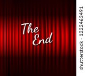 red stage curtain with the end... | Shutterstock . vector #1222463491